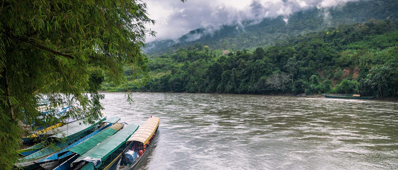 Boote an Anlegestelle auf Fluss im Regenwald