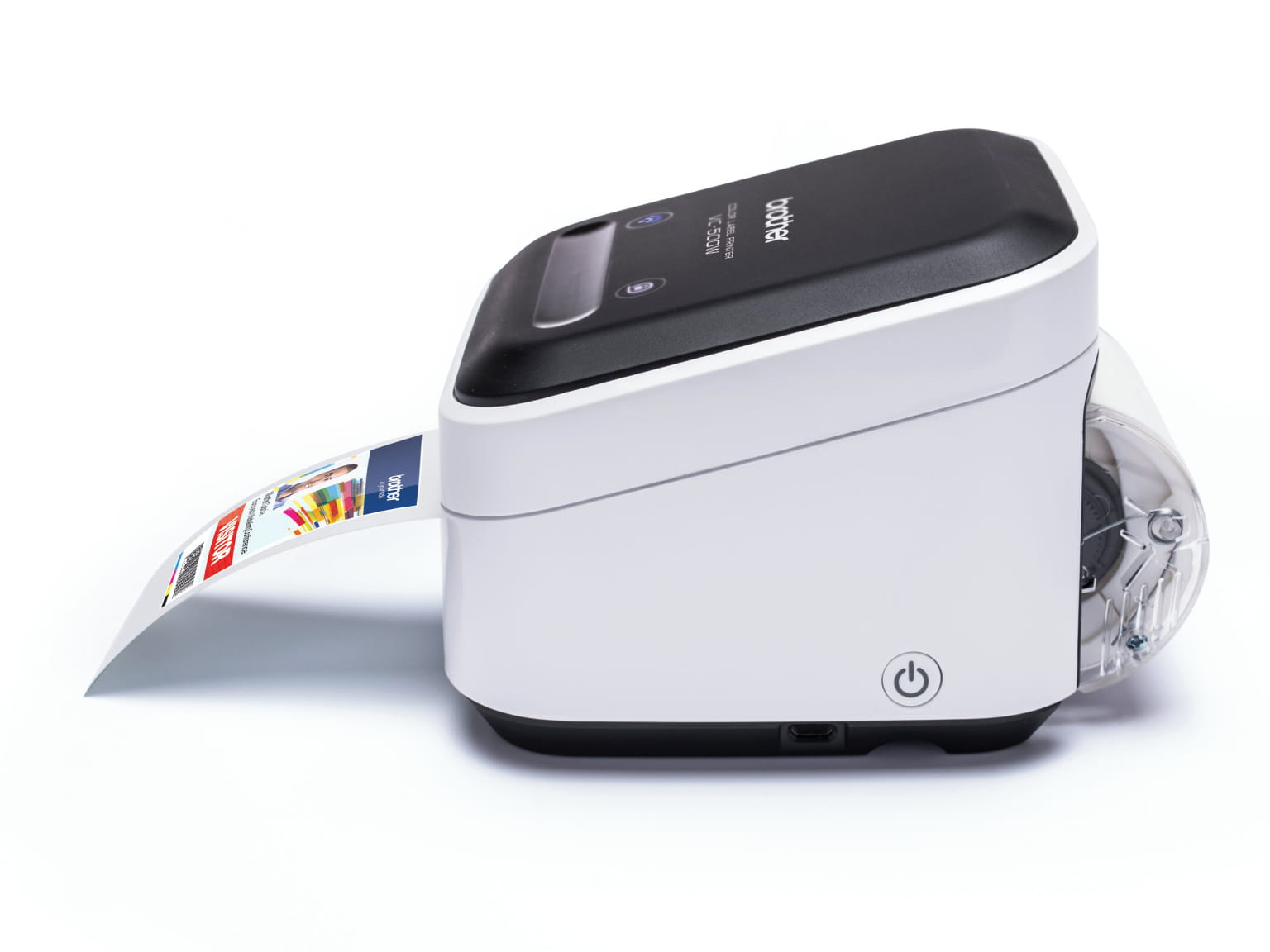 Brother VC-500W zero ink colour label printer with photo label output