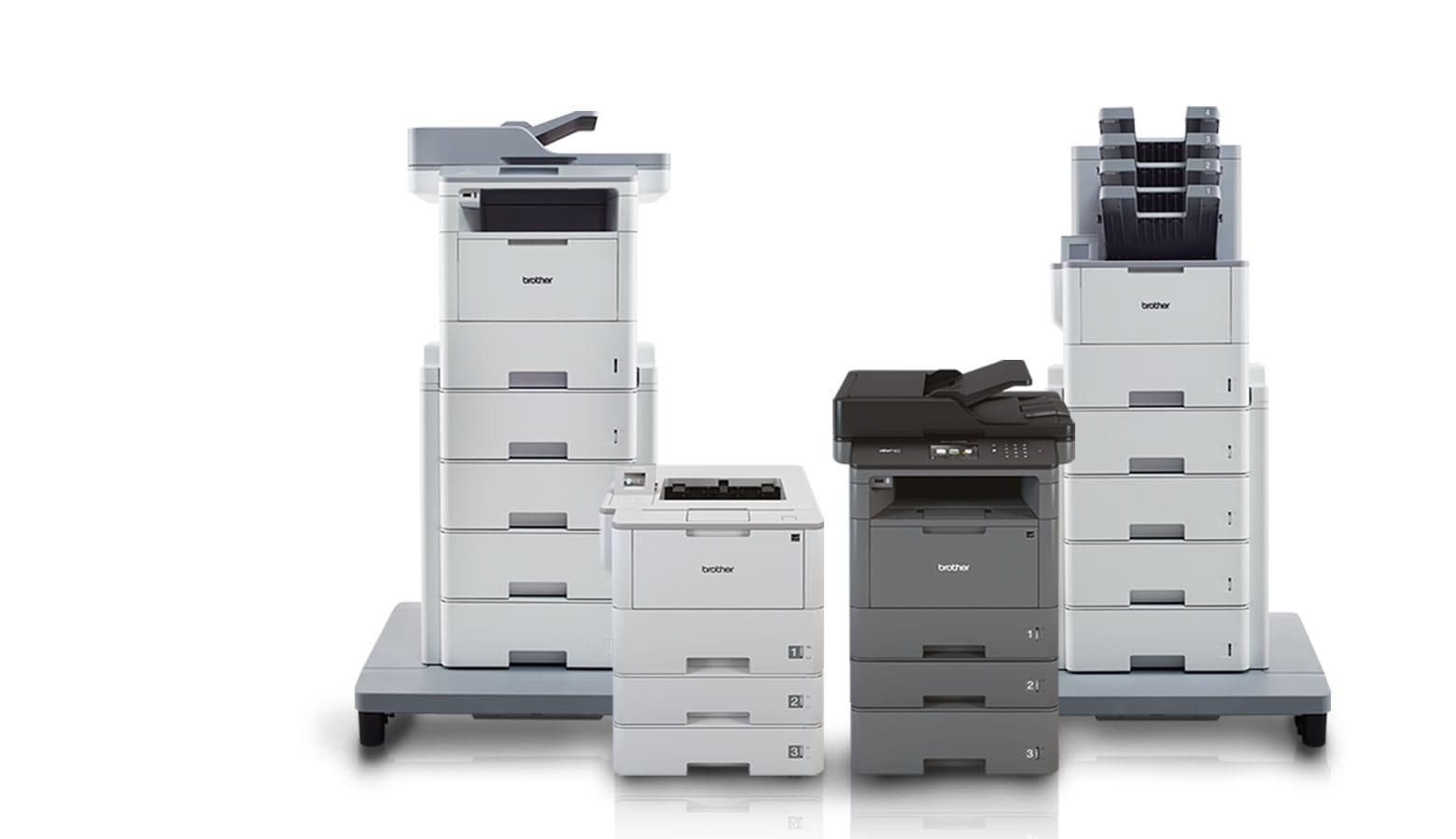 Übersicht von vier Brother Laserdrucker schwarz weiß