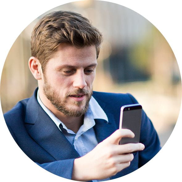 Brother OmniJoin Mobility man outside on mobile phone