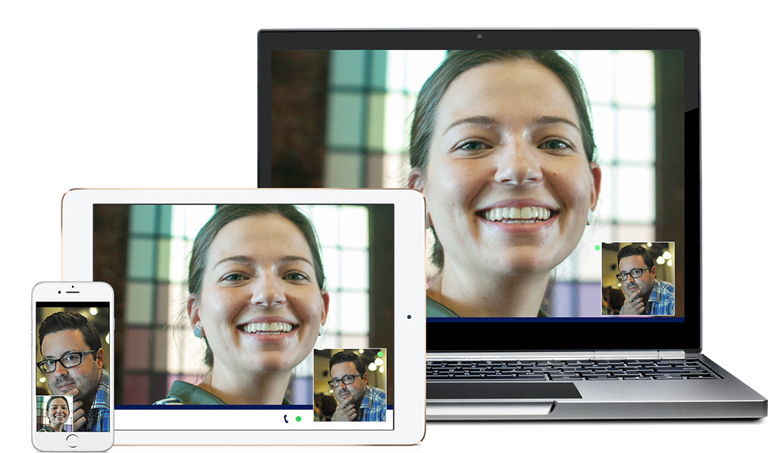 Brother OmniJoin phone, tablet, and laptop screens showing a web conference