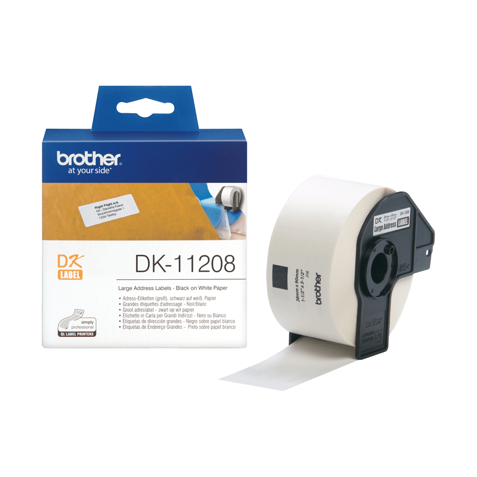 Brother DK-11208 Einzeletiketten – schwarz auf weiß 2
