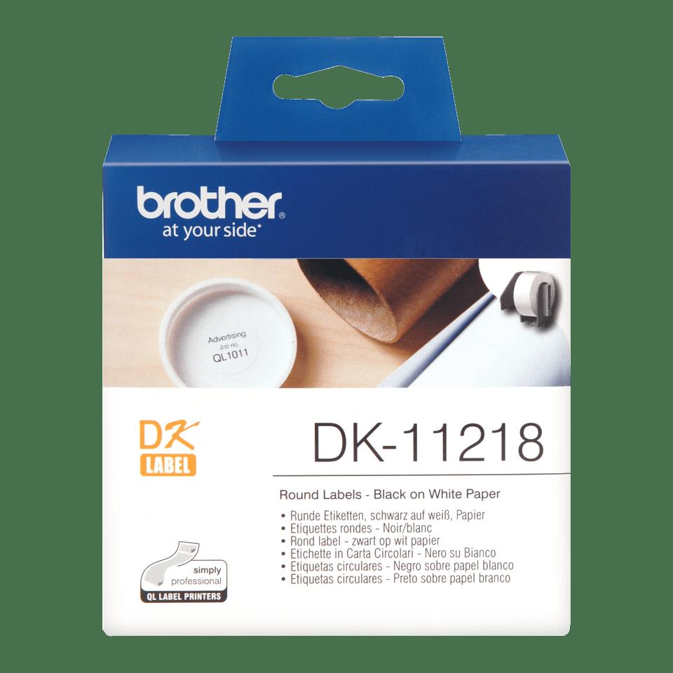 Brother DK-11218 Rundetiketten – schwarz auf weiß 0