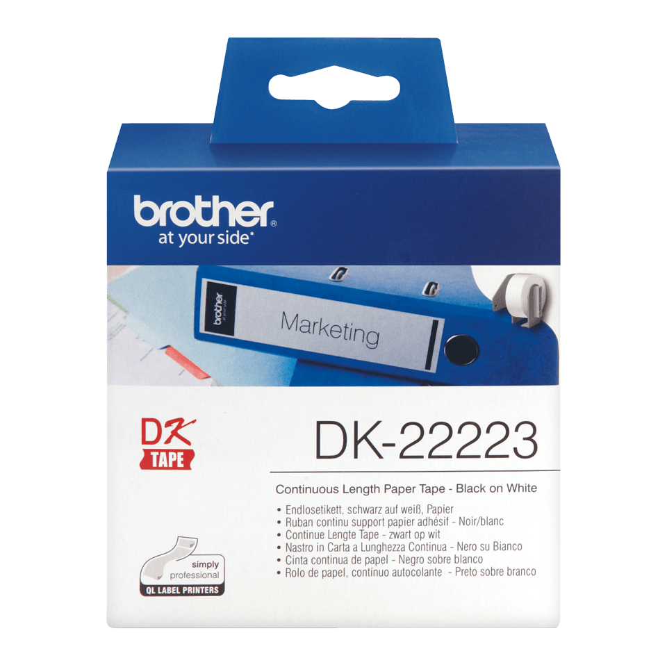 Brother DK-22223 Endlosetiketten – schwarz auf weiß 0