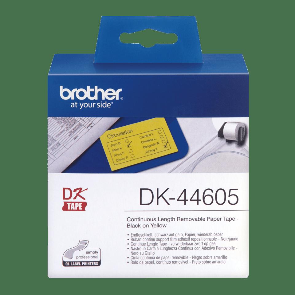 Brother DK-44605 Endlosetiketten – schwarz auf gelb