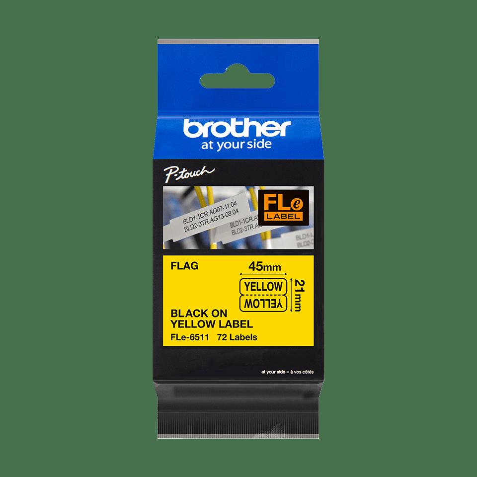Brother FLe-6511 Schriftband – schwarz auf gelb 3