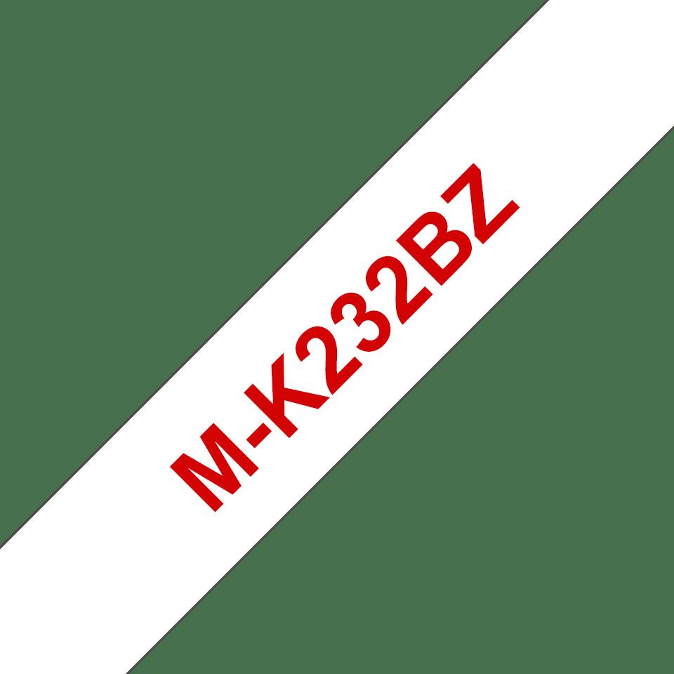 Brother M-K232 Schriftband – rot auf weiß 0