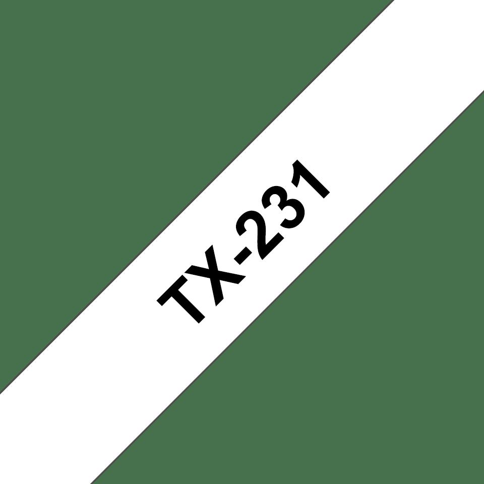 Brother TX-231 Schriftband – schwarz auf weiß 0
