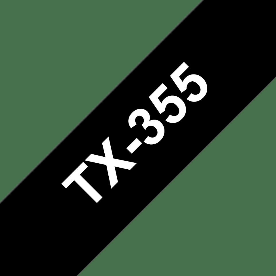 Brother TX-355 Schriftband – weiß auf schwarz