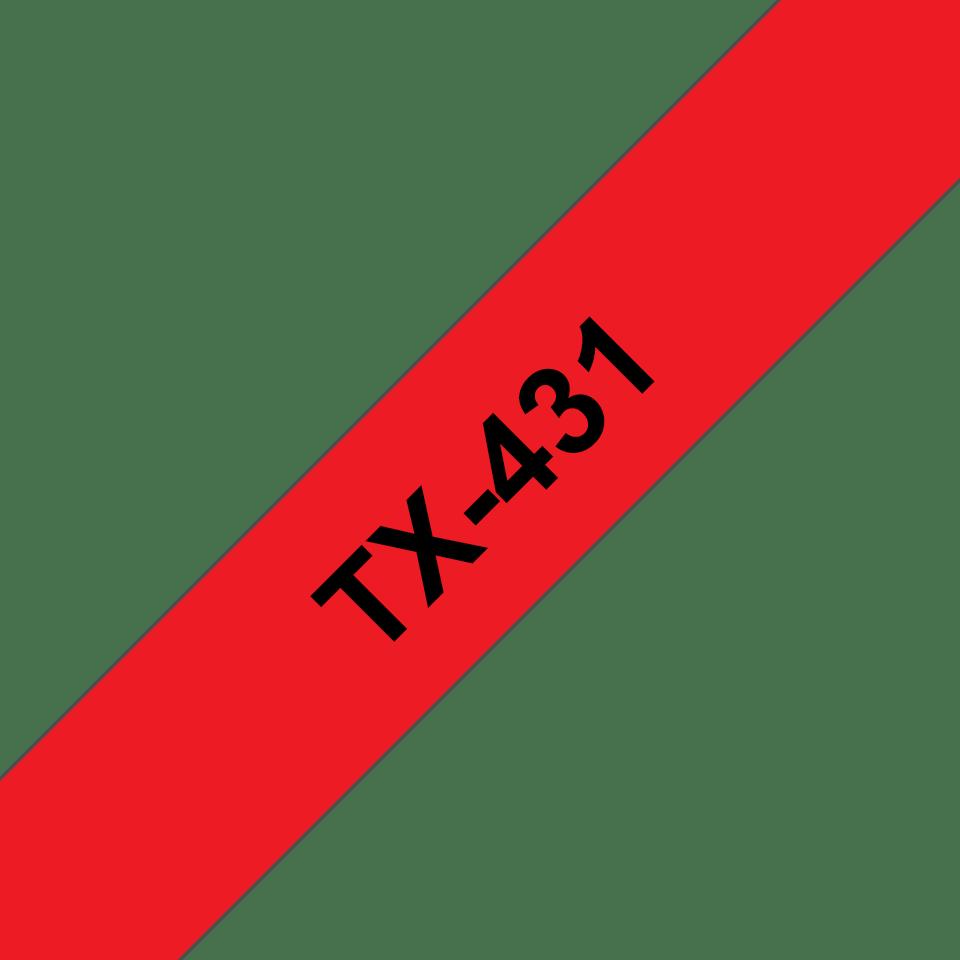 Brother TX-431 Schriftband – schwarz auf rot