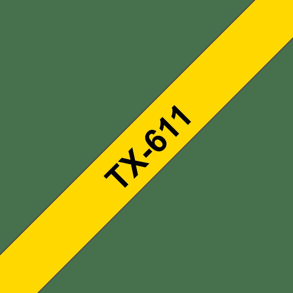Brother TX-611 Schriftband – schwarz auf gelb 0