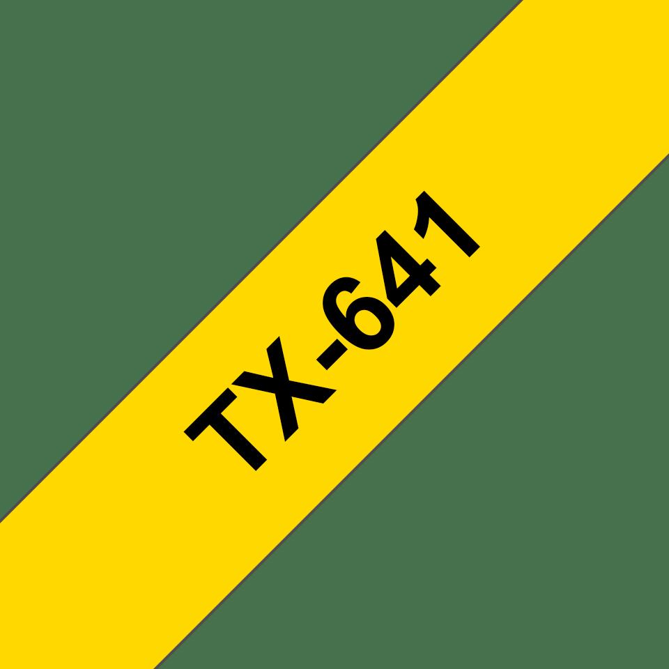 Brother TX-641 Schriftband – schwarz auf gelb