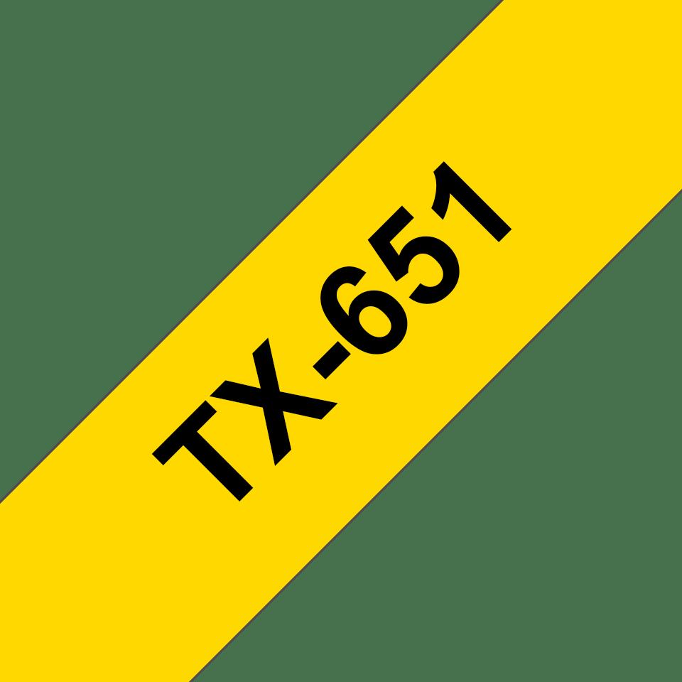 Brother TX-651 Schriftband – schwarz auf gelb