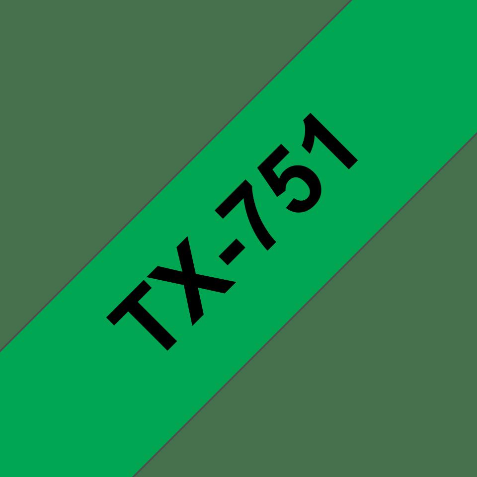Brother TX-751 Schriftband – schwarz auf grün 0