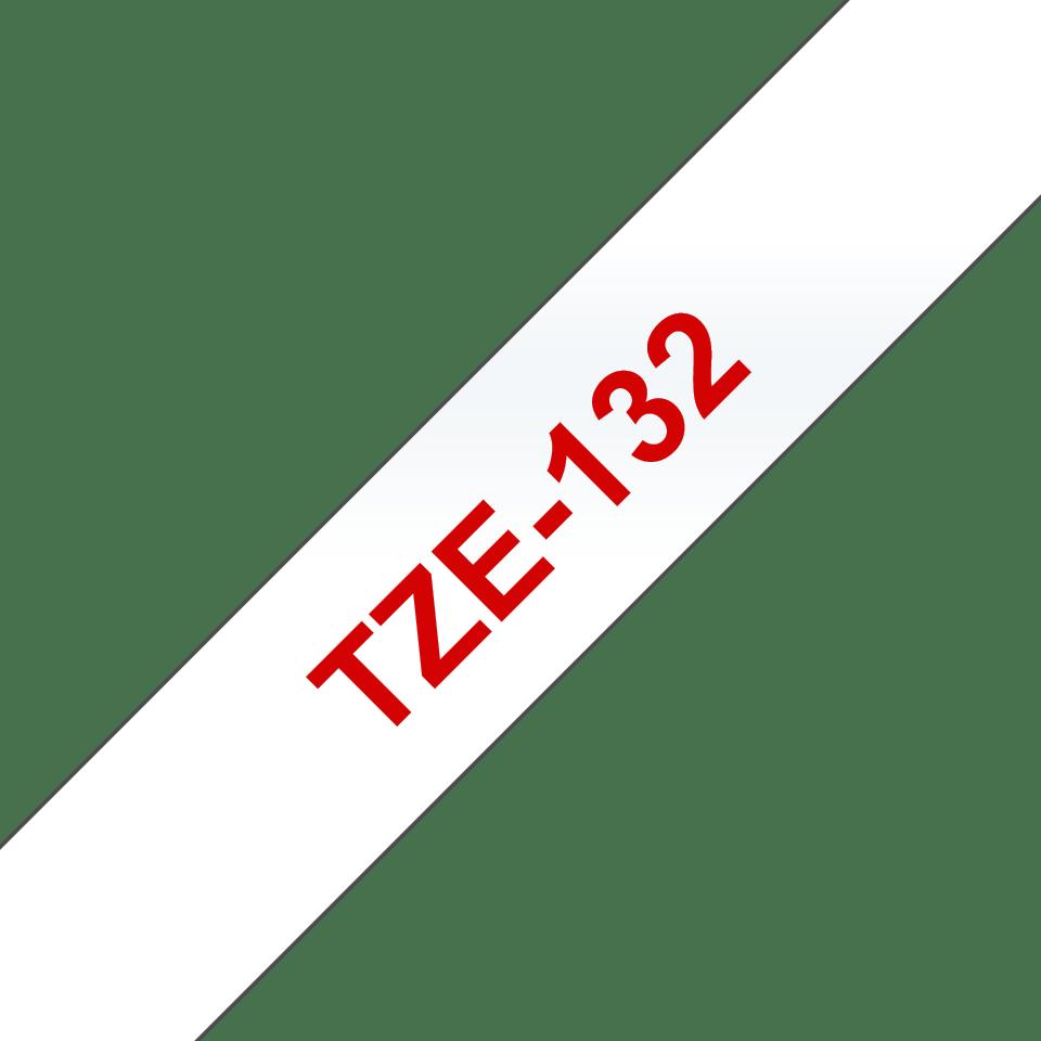 Brother TZe-132 Schriftband – rot auf transparent 2