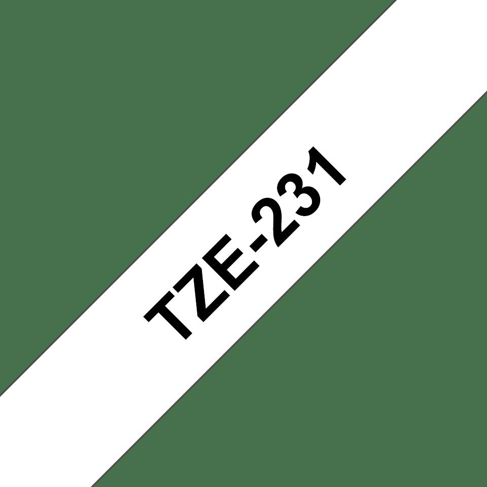 Brother TZe-231 Schriftband – schwarz auf weiß 2