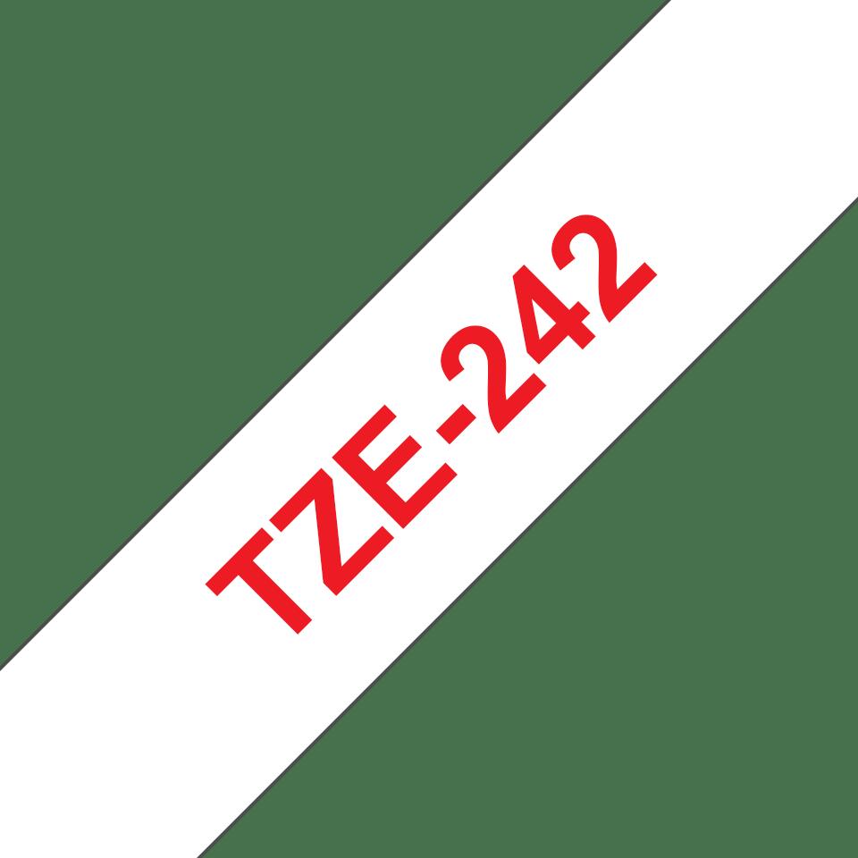 Brother TZe-242 Schriftband – rot auf weiß 2