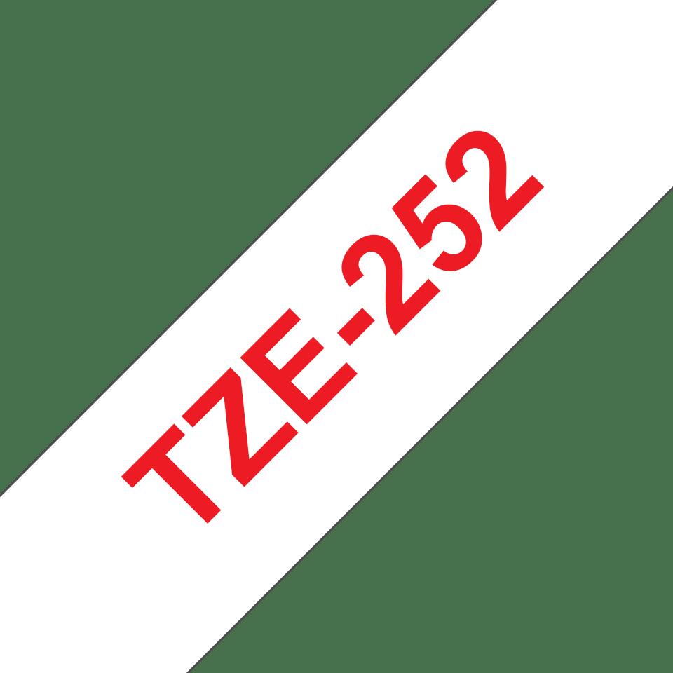 Brother TZe-252 Schriftband – rot auf weiß 2