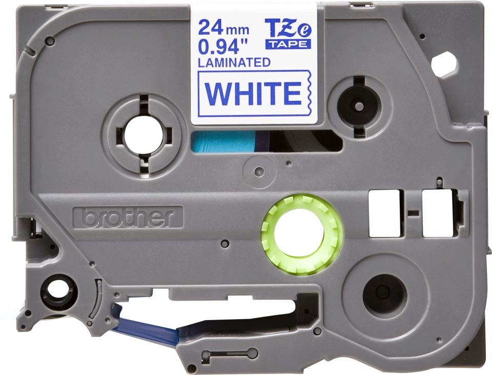 Brother TZe-253 Schriftband – blau auf weiß 0