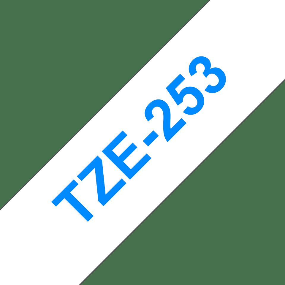 Brother TZe-253 Schriftband – blau auf weiß 2
