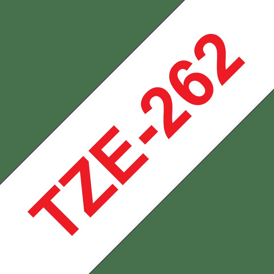 Brother TZe-262 Schriftband – rot auf weiß 2