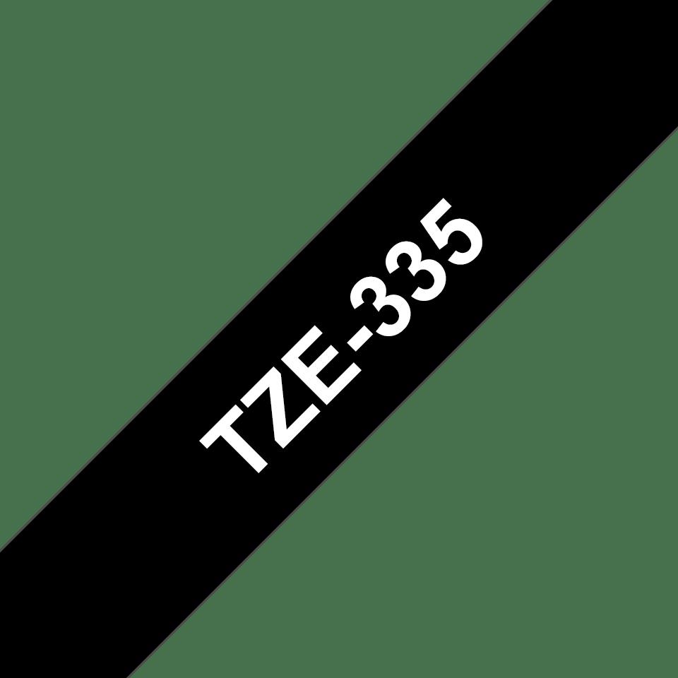 Brother TZe-335 Schriftband – weiß auf schwarz 2