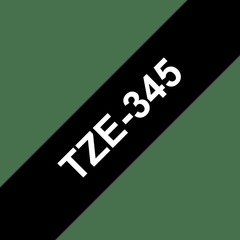 Brother TZe-345 Schriftband – weiß auf schwarz 2