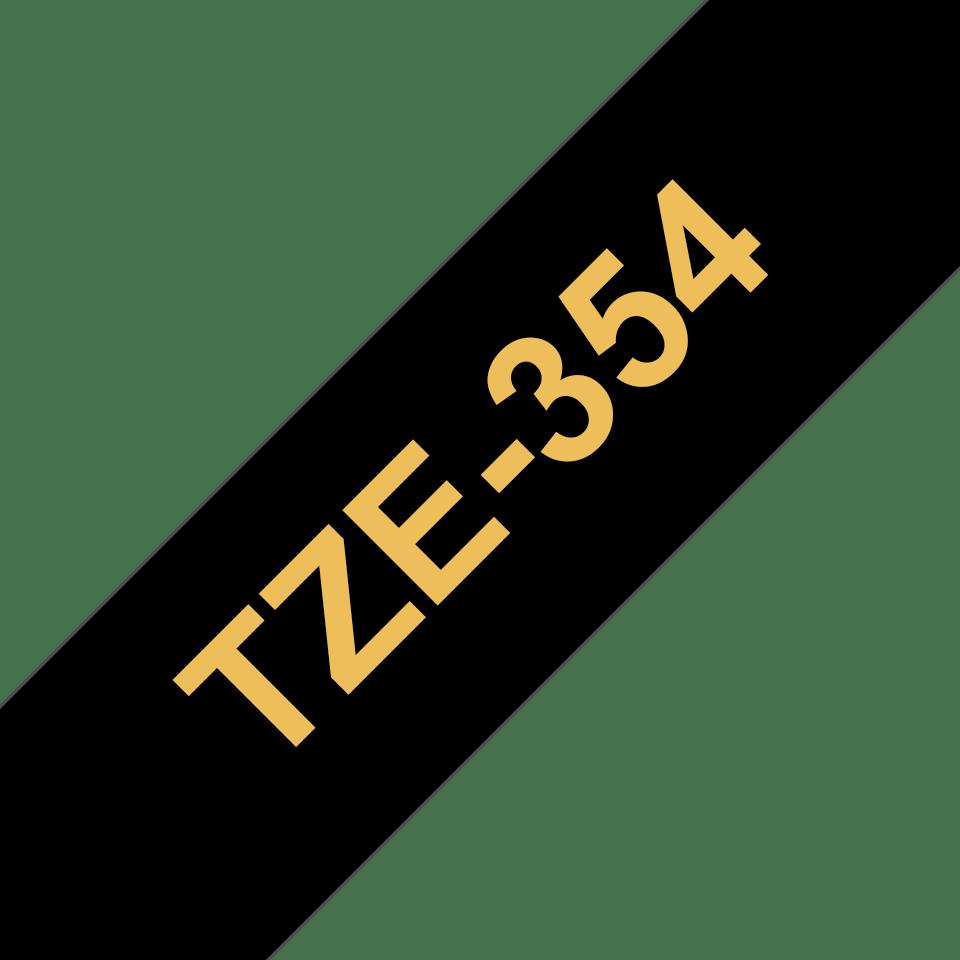 Brother TZe-354 Schriftband – gold auf schwarz 3