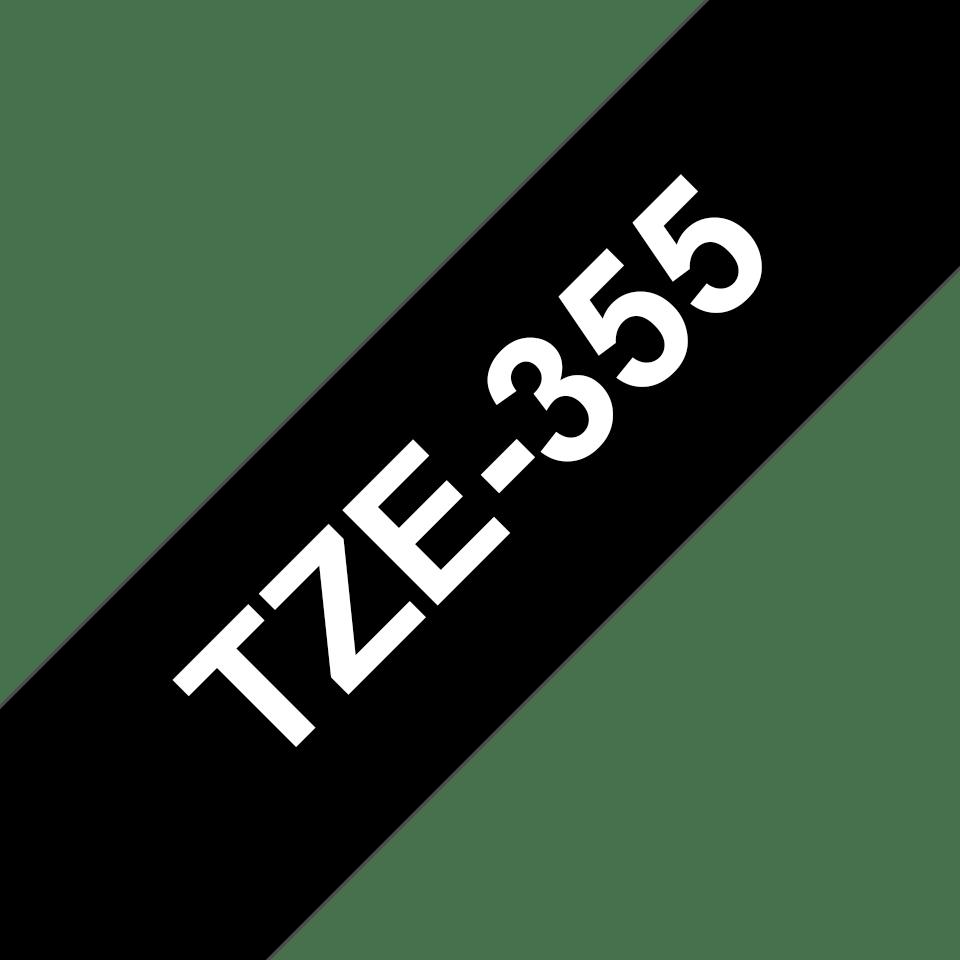 Brother TZe-355 Schriftband – weiß auf schwarz 2