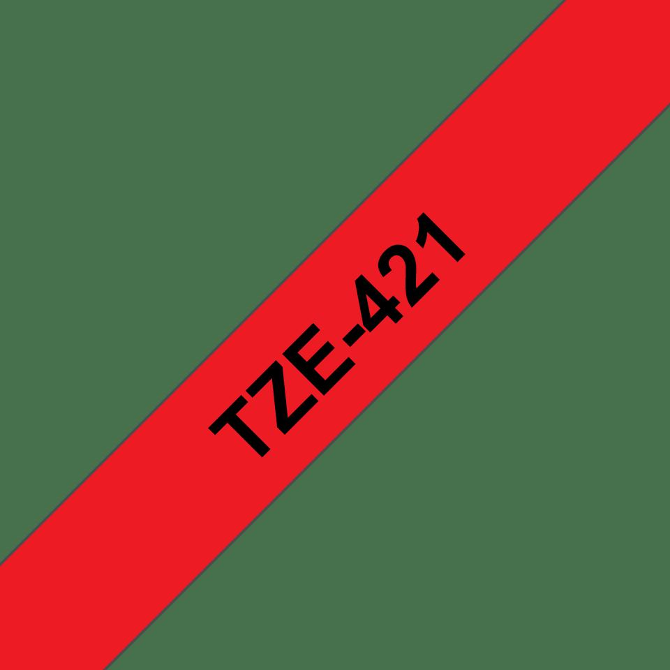 Brother TZe-421 Schriftband – schwarz auf rot 2