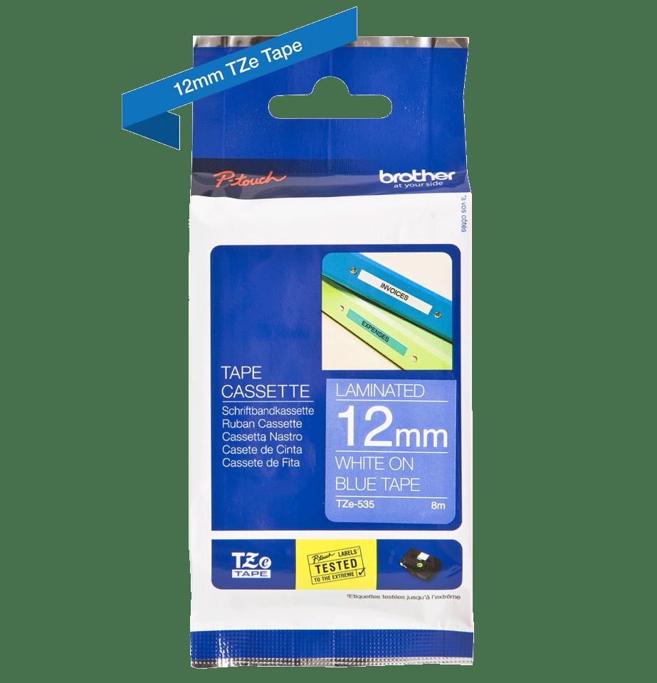 Brother TZe-535 Schriftband – weiß auf blau 4