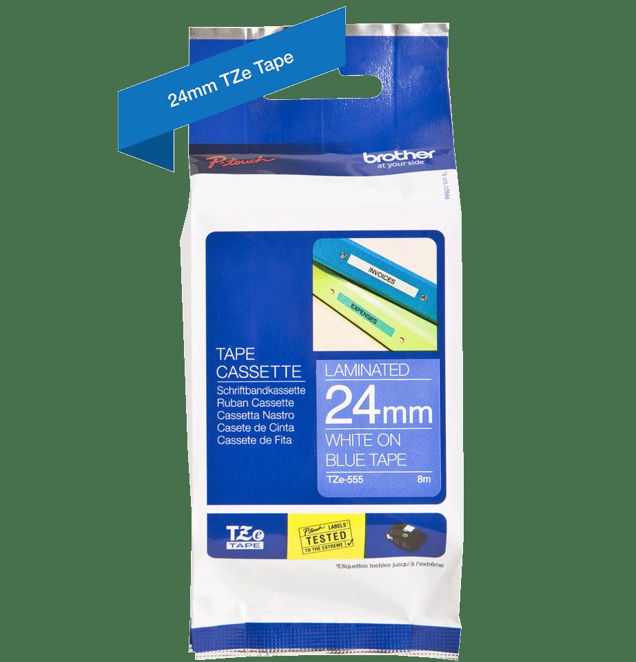Brother TZe-555 Schriftband – weiß auf blau 4