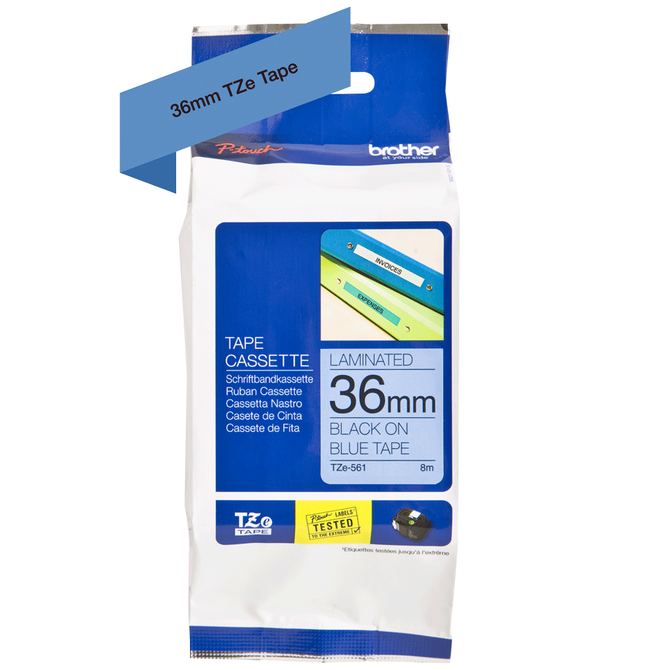 Brother TZe-561 Schriftband – schwarz auf blau 4