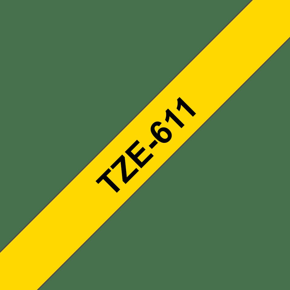 Brother TZe-611 Schriftband – schwarz auf gelb 2