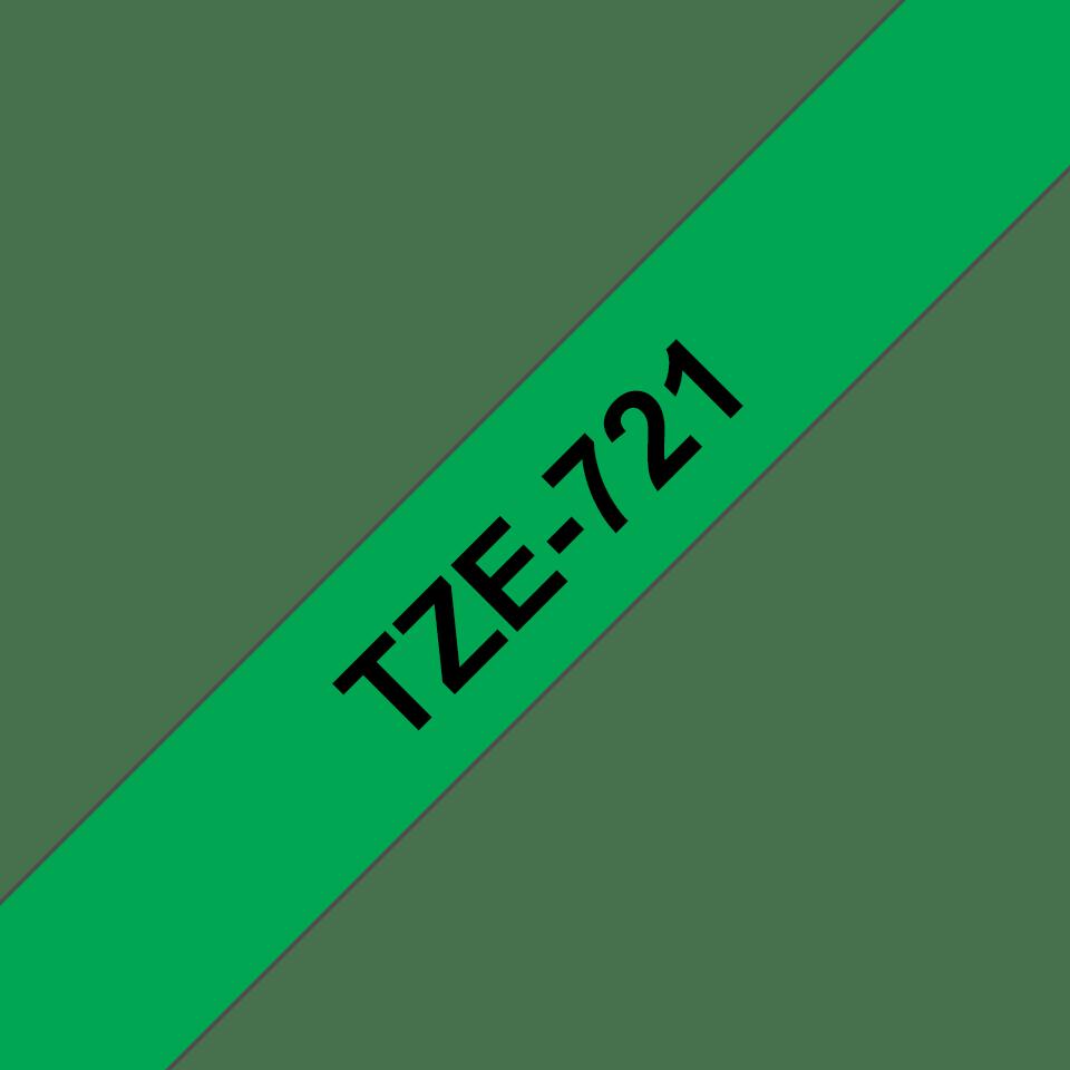 Brother TZe-721 Schriftband – schwarz auf grün 2