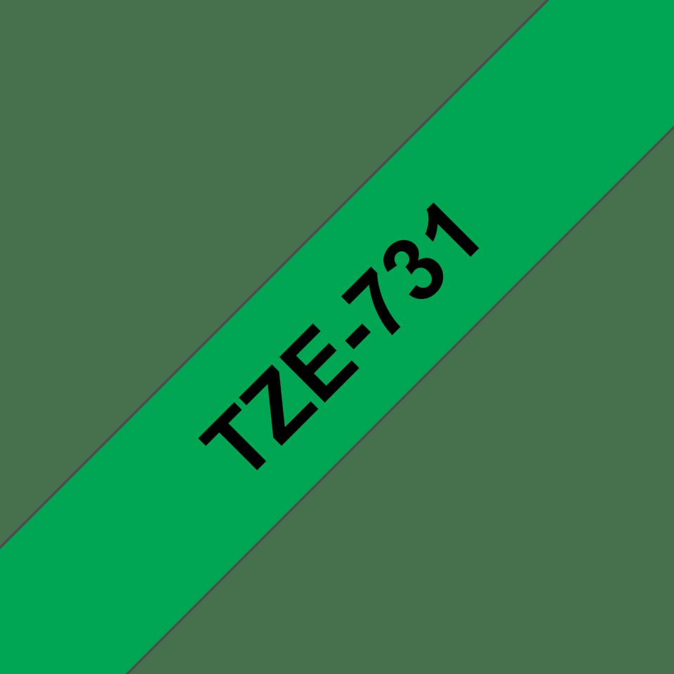 Brother TZe-731 Schriftband – schwarz auf grün 3