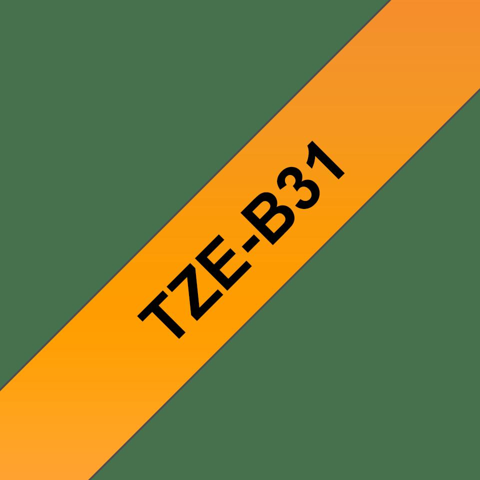 Brother TZe-B31 Schriftband – schwarz auf signalorange 2