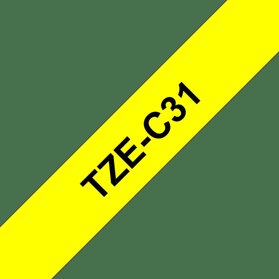 Brother TZe-C31 Schriftband – schwarz auf signal-gelb 2