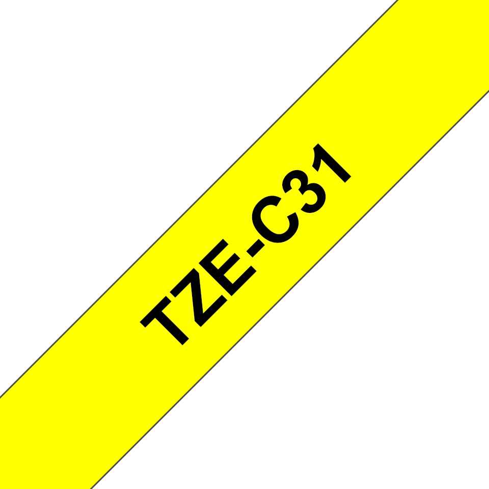 Brother TZe-C31 Schriftband – schwarz auf signal-gelb 3
