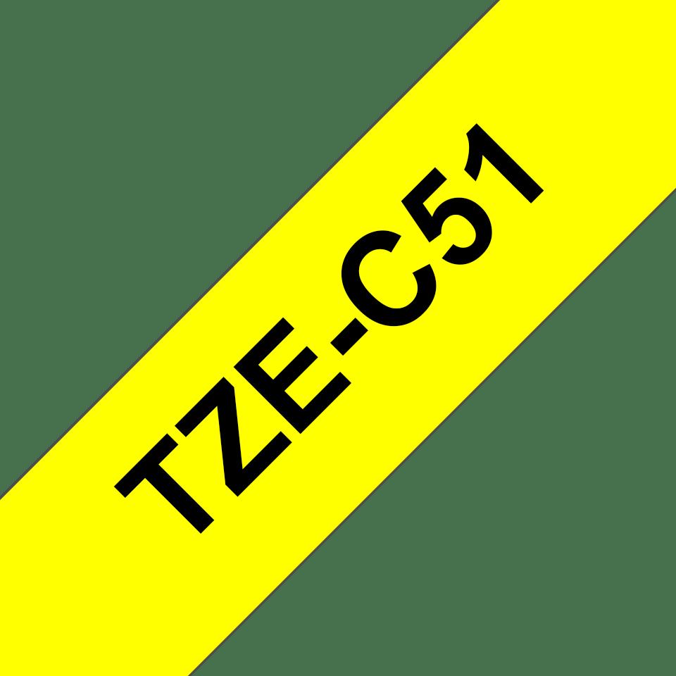 Brother TZe-C51 Schriftband – schwarz auf signal-gelb 2