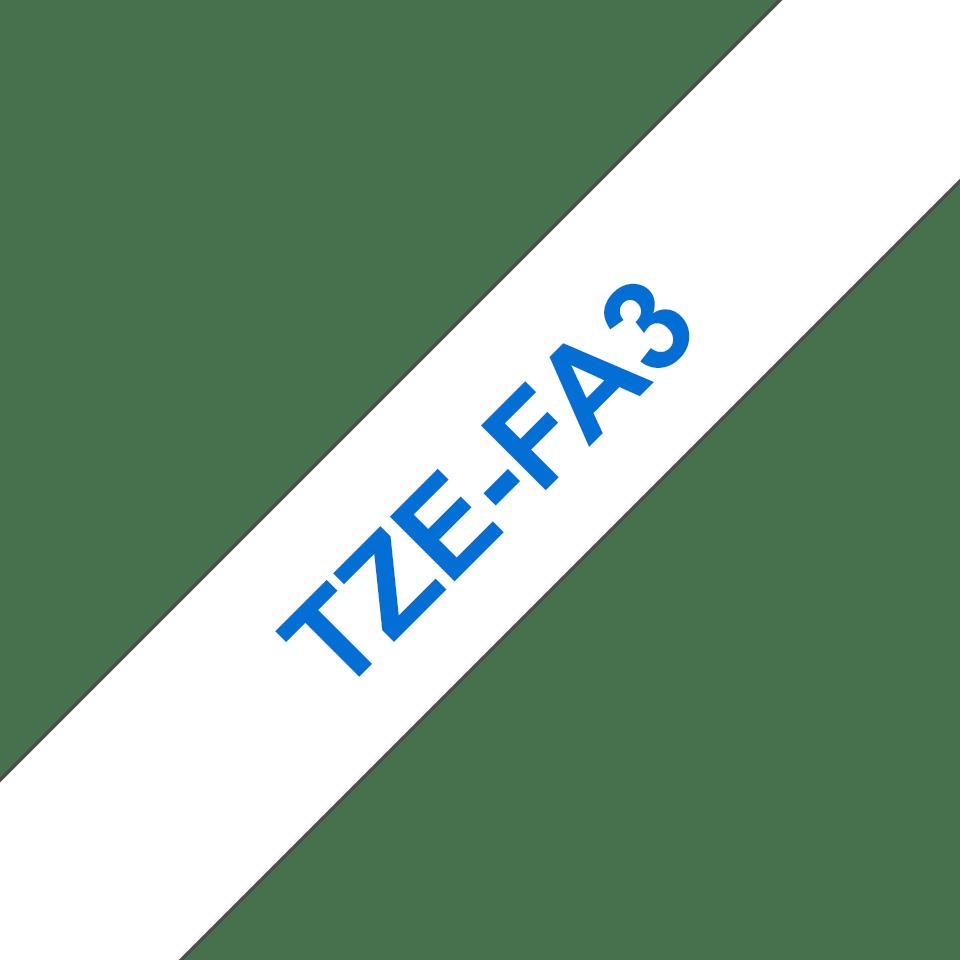 Brother TZe-FA3 Schriftband – blau auf weiß 2