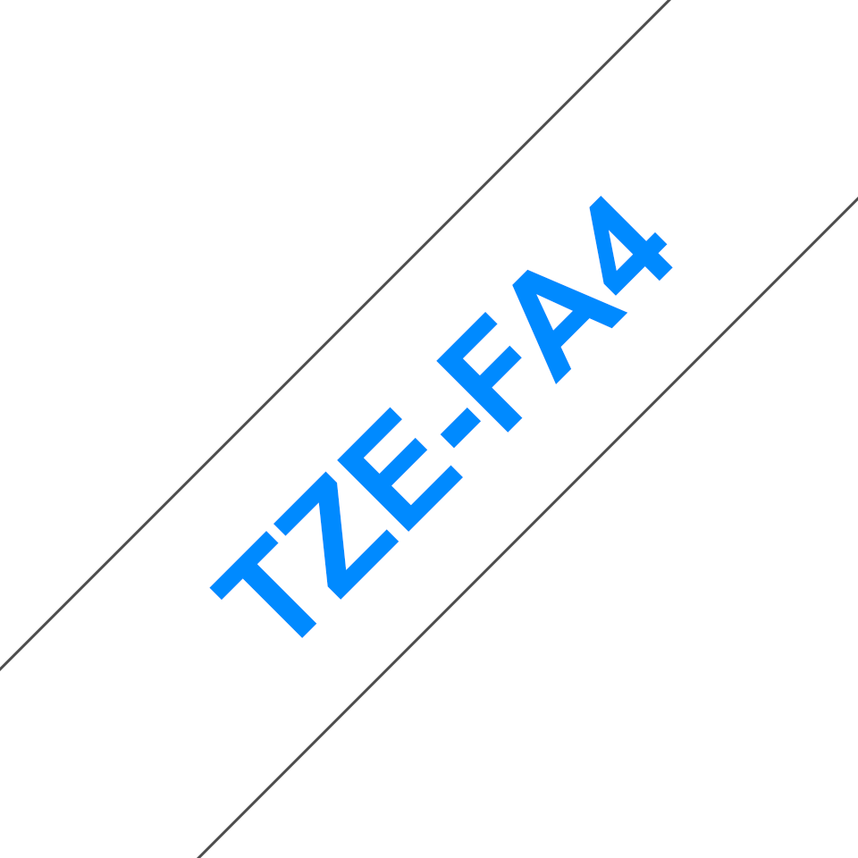 Brother TZe-FA4 Schriftband – blau auf weiß 2