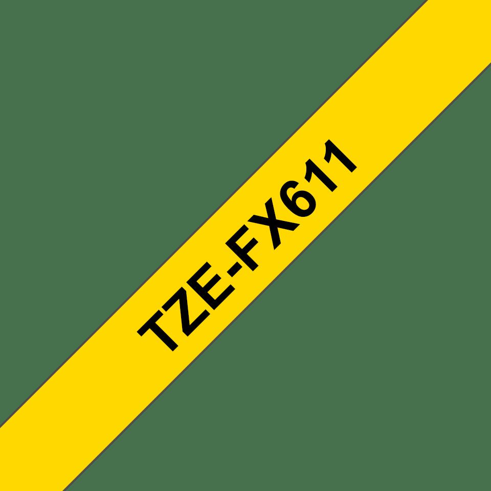 Brother TZe-FX611 Flexi-Tape – schwarz auf gelb 2