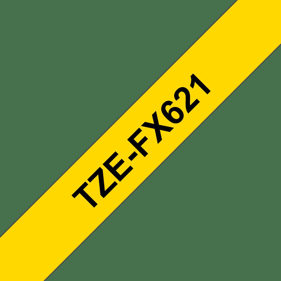 Brother TZe-FX621 Flexi-Tape – schwarz auf gelb 2