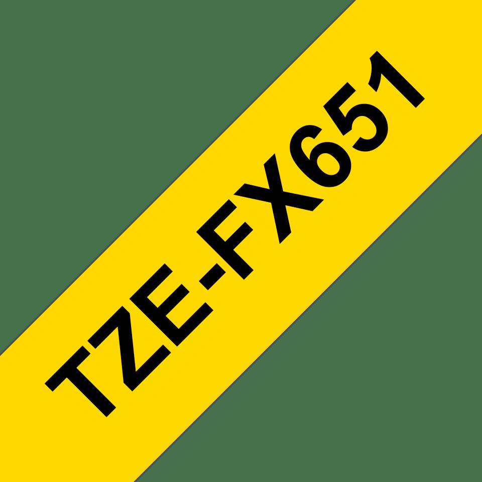 Brother TZe-FX651 Flexi-Tape – schwarz auf gelb 2