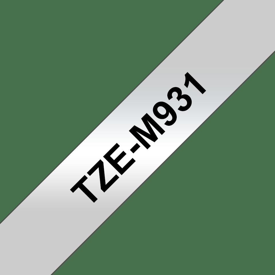 Brother TZe-M931 Schriftband – schwarz auf silber (matt) 2