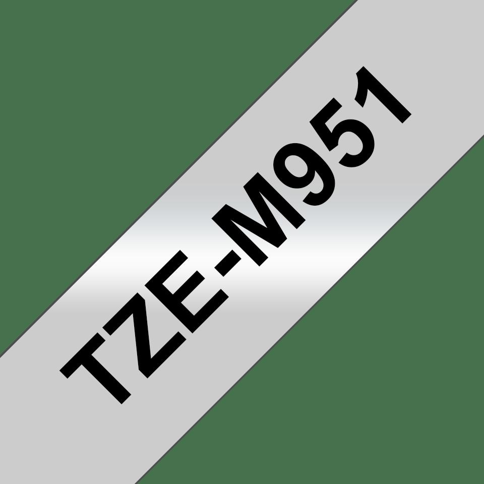 Brother TZe-M951 Schriftband – schwarz auf silber (matt) 3