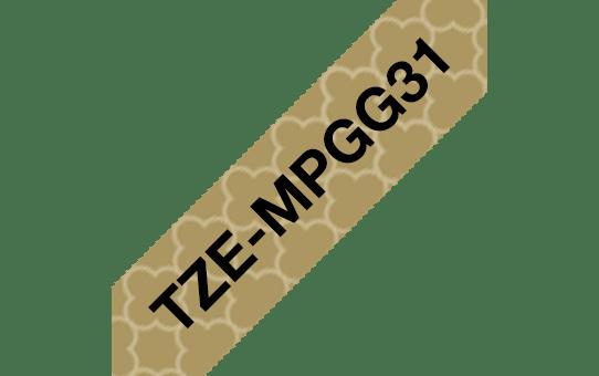 Brother TZe-MPGG31 Schriftband – schwarz auf gold-geometrisch 2