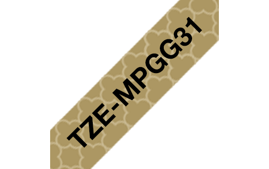 Brother TZe-MPGG31 Schriftband – schwarz auf gold (geometrisch) 2