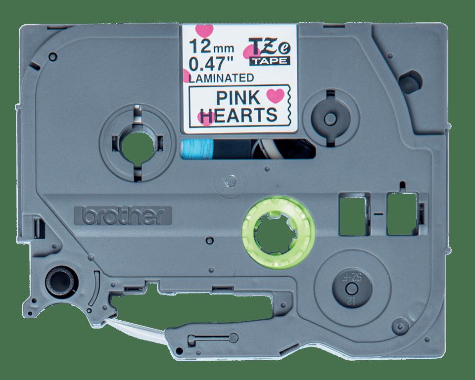 Brother TZe-MPPH31 Schriftband – schwarz auf rosa Herzen